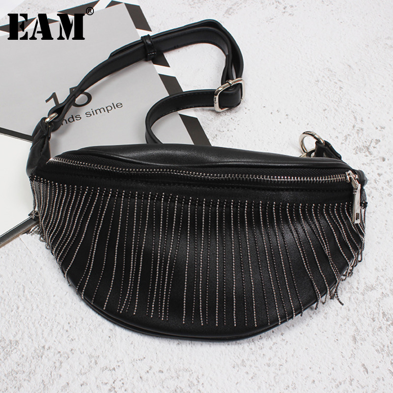 [EAM] Black Tassels Split Joint Vintage Bag Pu Leather Belt Personality Women New Fashion Tide All-match Spring 2020 1U420