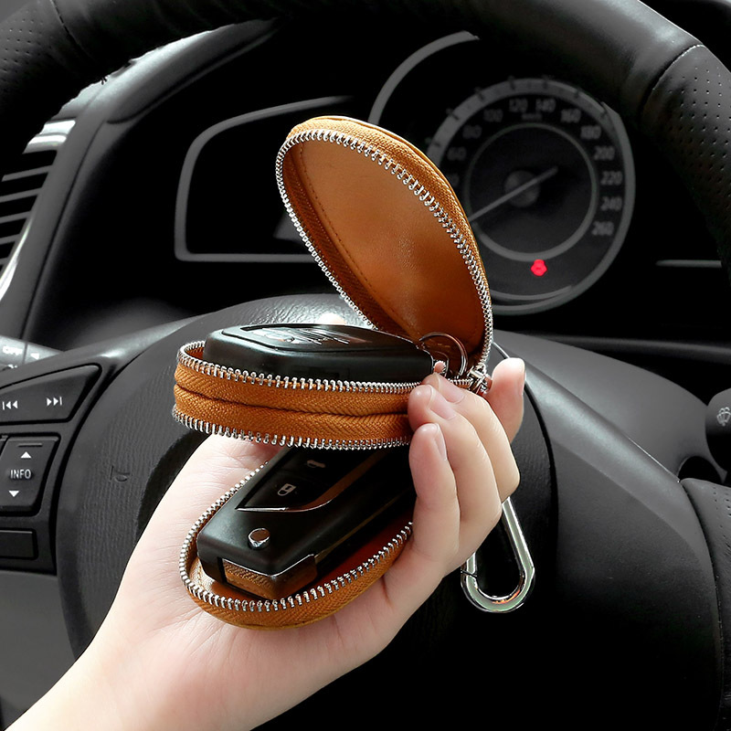 Men Women's Top Layer Oil Wax Cowhide Car Keys' Bag Double Pocket Zipper Mini Wallet Fashion Key Holder Zipper Keychain