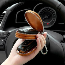 Men Women's Top Layer Oil Wax Cowhide Car Keys' Bag Double Pocket Zipper Mini Wallet Fashion Key Holder Zipper Keychain