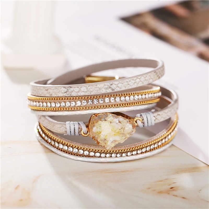 17KM w stylu Vintage, ręcznie robione, wielowarstwowe czarna skórzana bransoletka dla mężczyzn kobiety moda mozaika kryształowa bransoletka Party biżuteria Dropshipping