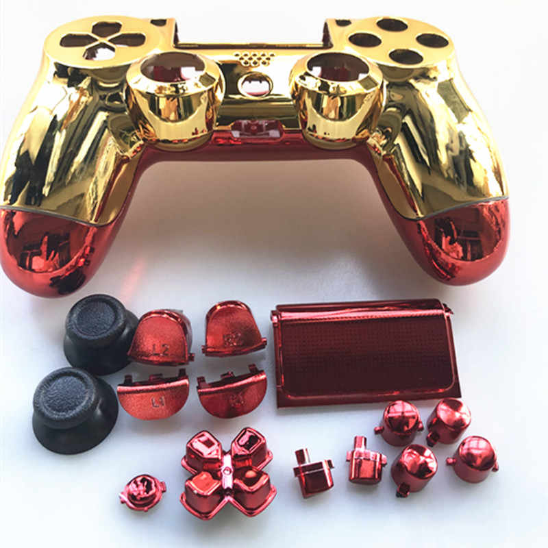 Untuk PS4 Pro JDM 040 JDS 040 PlayStation 4 Pro V2 Gen 2 Controller Chrome Plating Shell Depan Emas Kembali merah Cover Case Ganti