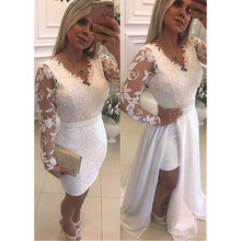 Fashion Long Sleeves 2 In 1 Evening Dresses 2020  Plus Size Vintage Lace Long Formal Dress Evening gown Prom Party Gowns plus botanical mesh overlay 2 in 1 dress