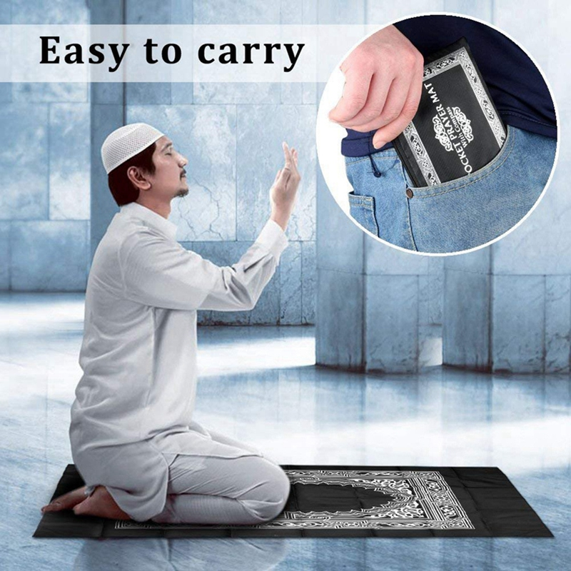 Image 2 - Muslim Prayer Rug Polyester Portable Braided Mats Simply Print  with Compass In Pouch Travel Home New Style Mat BlanketRug   -