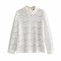 Elegant women white lace blouse Sexy see through female office shirts Chic puff sleeve crew neck ladies work wear tops