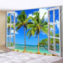 Кокосовое дерево морской пейзаж гобелен индийская мандала настенный