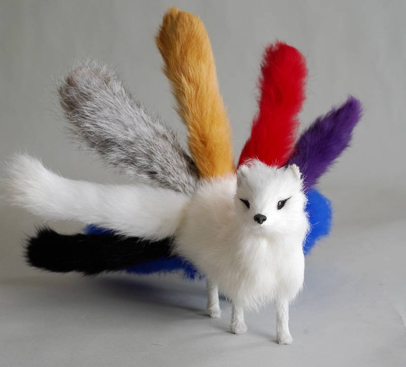 new simulation white fox toy plastic&fur real life colourful nine-tails fox doll gift about 30x12.5cm