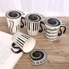Creative Ceramic Cups Music With Lid Travel Coffee Mug Personality Couple Piano Note Milk Drink Mug Portable With Handle Tea Cup недорого