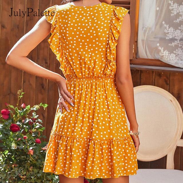 Julypalette Yellow V-neck Ruffles Women's Dress Bohemian Summer Sleeveless Dot Printed Beach Sundress Lace up Female vestidos 3