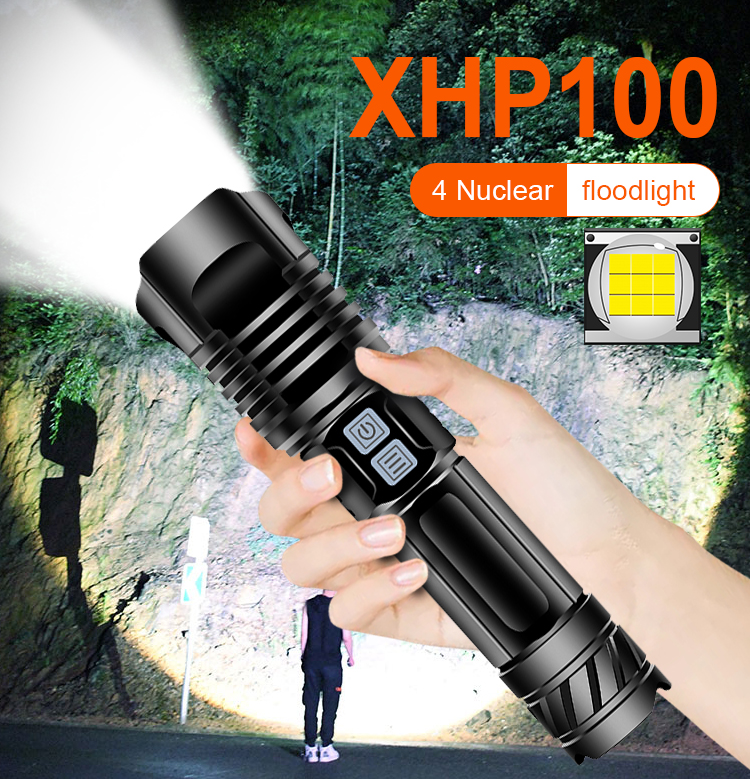xhp100 High power led flashlight rechargeable 18650 26650 battery  USB  lumen super powerful torch xhp90 xhp70 xhp50 flash light