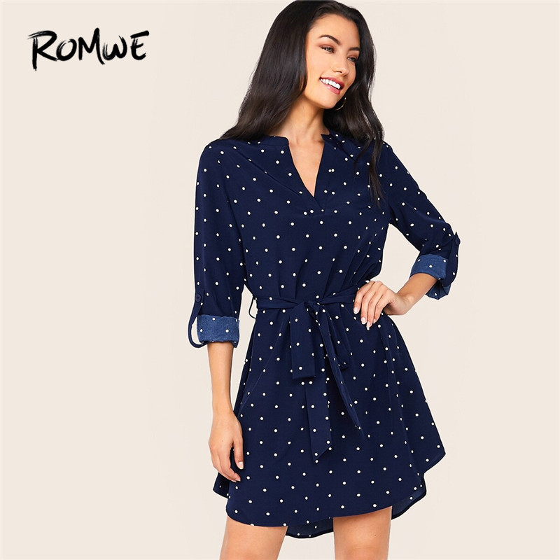 ROMWE Polka-Dot V Notched Neck Belted Casual Dress Women Autumn Roll Up Long Sleeve Dress Navy Mini Dresses Fall 2019 Clothes