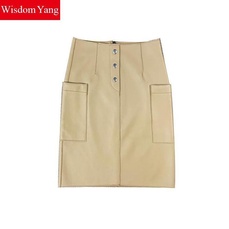 Real Genuine Leather Skirt High Waisted Midi Pencil Skirts Womens Spring Autumn Red Khaki Bodycon Sexy Party Wrap Clothes Faldas