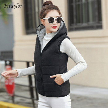 Fitaylor New Autumn Winter Women Vest Cotton Hooded Casual Slim Waistcoat Female Sleeveless Jacket 1
