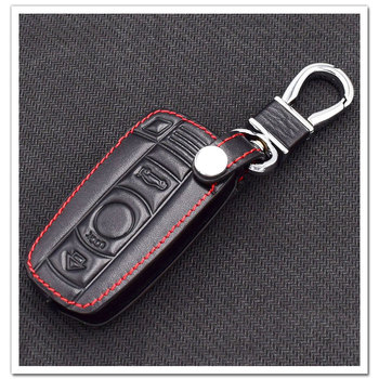 Car Key Case KeyChain Cover Leather For BMW E46 E30 E60 E90 F30 F10 E39 F20 E53 X5 X3 X4 320I 116I 328I 3 4 5 7 Series image