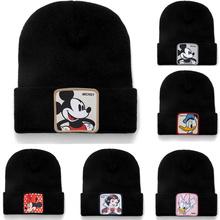 Mickey Minnie Donald Beanie bawełna wysokiej jakości Casual czapki typu Beanie dla mężczyzn kobiety ciepła czapka zimowa z dzianiny moda solidna czapka Unisex tanie tanio Disney Dla dorosłych COTTON Cartoon sandman Skullies czapki Na co dzień