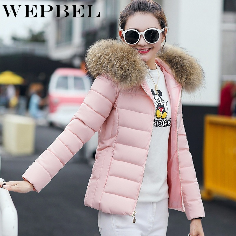 WEPBEL Winter Sustans Jacket Women Coat Fashion Women   Parkas   Warm Winter Solid Coat Hooded Slim Jackets Women Clothes