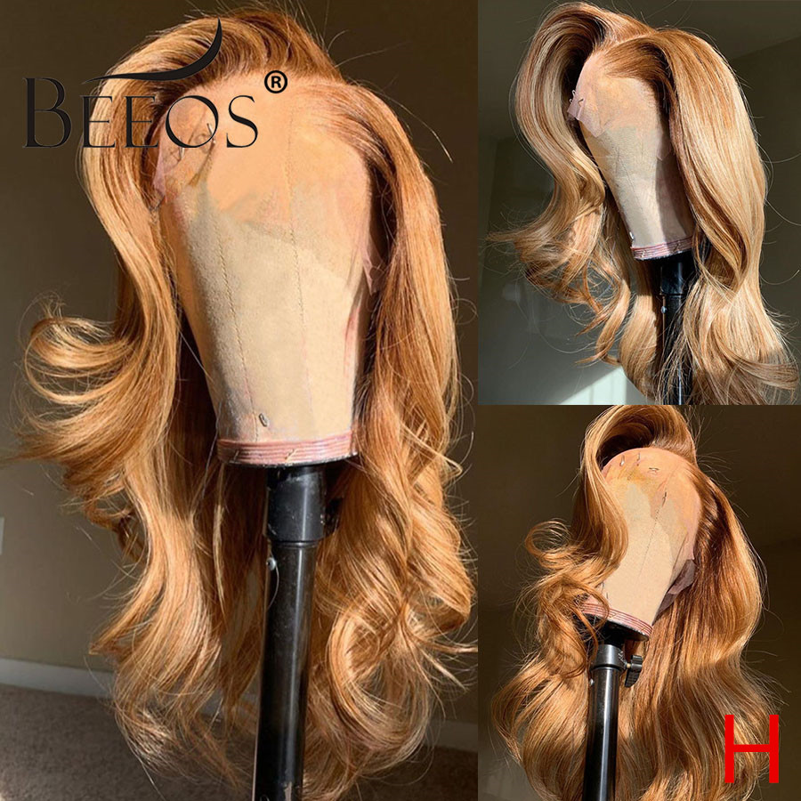 Beeos 180% 360 Lace Front Human Hair Wig Wavy Wave Honey Blonde Color Pre Plucked With Baby Hair Bleached Knots Brazilian Remy