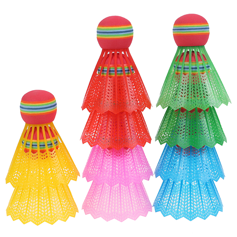 10PCS/Pack Rainbow EVA Badminton Ball Head Nylon Badminton Feathers For Game Sport Entertainment With Transparent Barrel