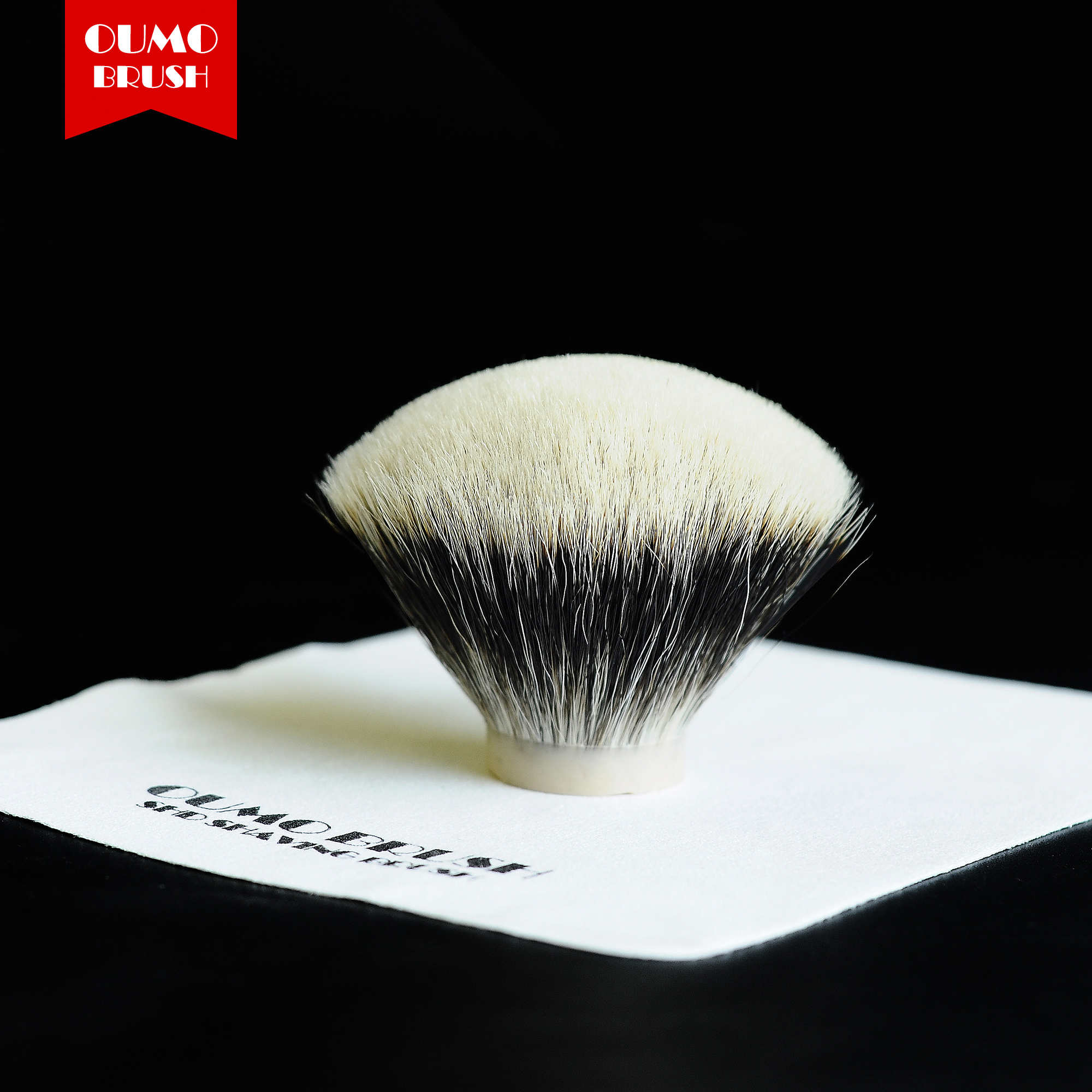 OUMO BRUSH-SHD Manchuria Finest Two Band Chubby Fan Badger Hair Knots Shaving Brush Knots