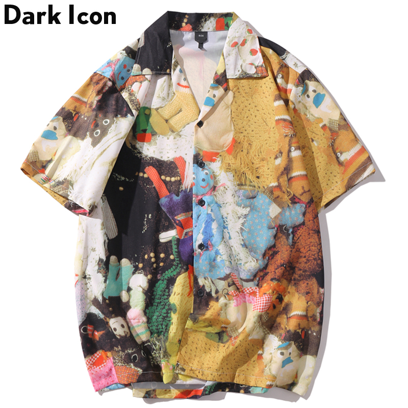 Dark Icon Full Printing Hip Hop Shirt Summer Street  Short Sleeve Men's Shirts Streetwear Clothes