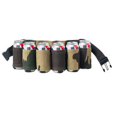 6 Pack Portable Bottle Waist Beer Belt Bag Wine Bottles Beverage Can Holder,Camouflage(China)