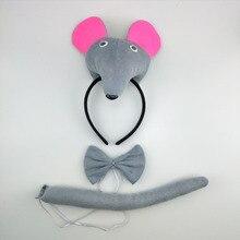 Головной убор с объемными ушками мыши, крысы, хвоста, галстука для мальчиков и девочек, вечерние головные уборы для костюмированной вечеринки, аксессуары для волос для Хэллоуина