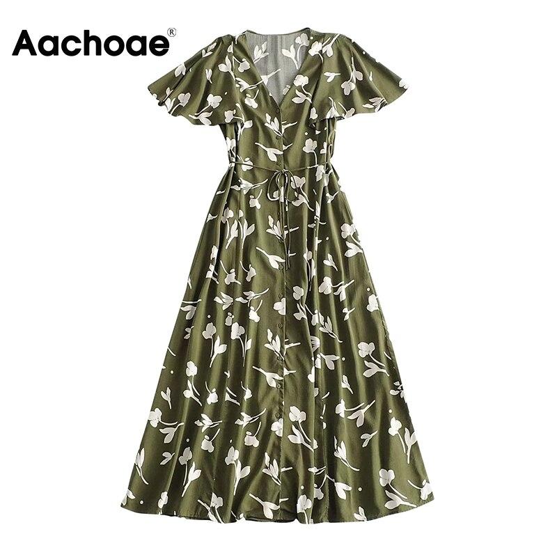 Aachoae V Neck Floral Printed Long Dress Women Summer Flare Short Sleeve Party Maxi Dress Button Bandage Vintage Dresses Vestido