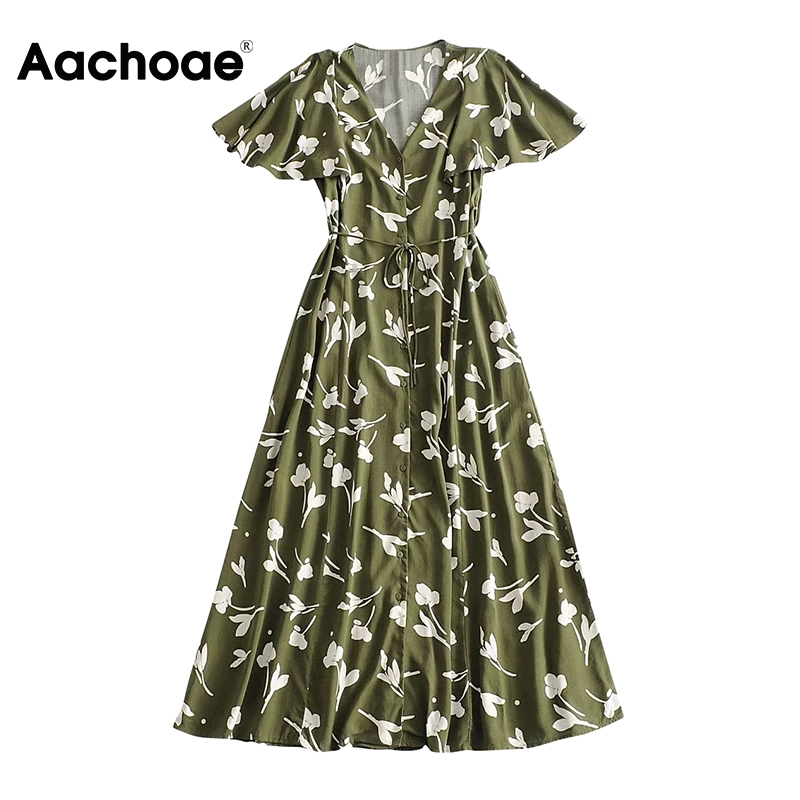 Aachoae V Neck Floral Printed Long Dress Women Summer Flare Short Sleeve Party Maxi Dress Button Bandage Vintage Dresses Vestido