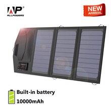 Allforce شاحن بطارية الطاقة الشمسية المحمولة 5 فولت 15 واط 10000 مللي أمبير USB Type C ألواح الطاقة الشمسية المحمولة شاحن في الهواء الطلق لوحة شمسية قابلة للطي.