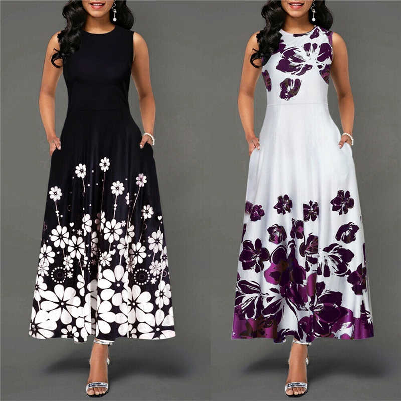 White Sleeveless O Neck Floral Print Women Vestidos Sexy Bodycon Dress Summer 2019 Boho Maxi Dresses Sexy Office Dress Lady