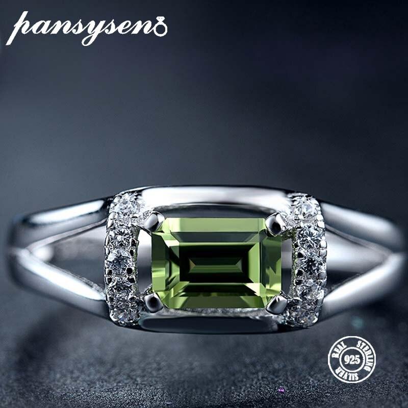 PANSYSEN Zircon Olivine Ring Gifts Fine-Jewelry Gemstone Rectangle-Shape Anniversary