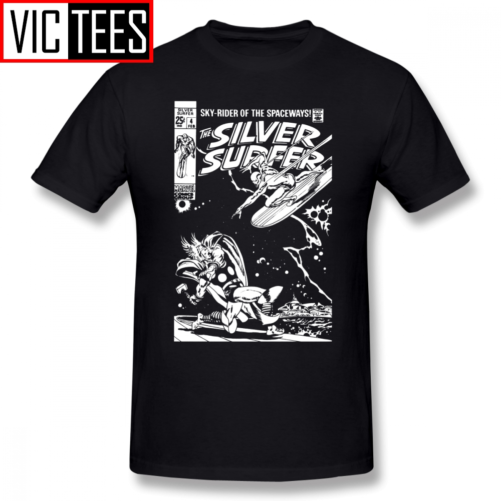 Mens Silver Surfer T Shirts SILVER SURFER JOHN BUSCEMA T-Shirt Basic Tee Shirt Mens Printed Funny 100% Cotton Tshirt