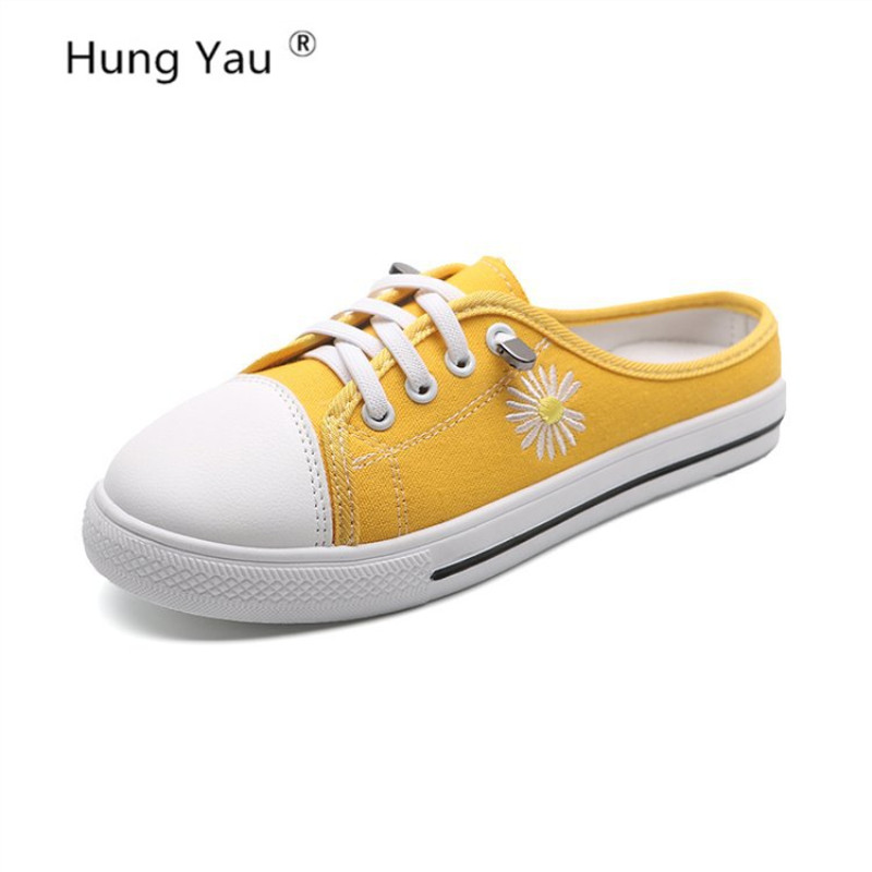 Womens Loafers Muller Canvas Shoes Simple Slipony Autumn Square Toe Casual Shallow Comfortable Student Shoes Plus Size 35-40