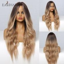EASIHAIR negro a marrón Ombre pelucas para mujeres sin costuras ondulado Afro suave Cosplay del pelo resistente al calor peluca diario peluca sintética