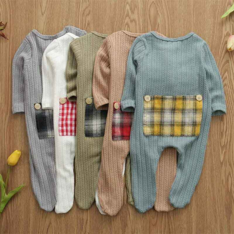 One Piece Newborn Infant Baby Boy Girl Kid Knit Romper Long Sleeve Jumpsuit Clothes Outfit