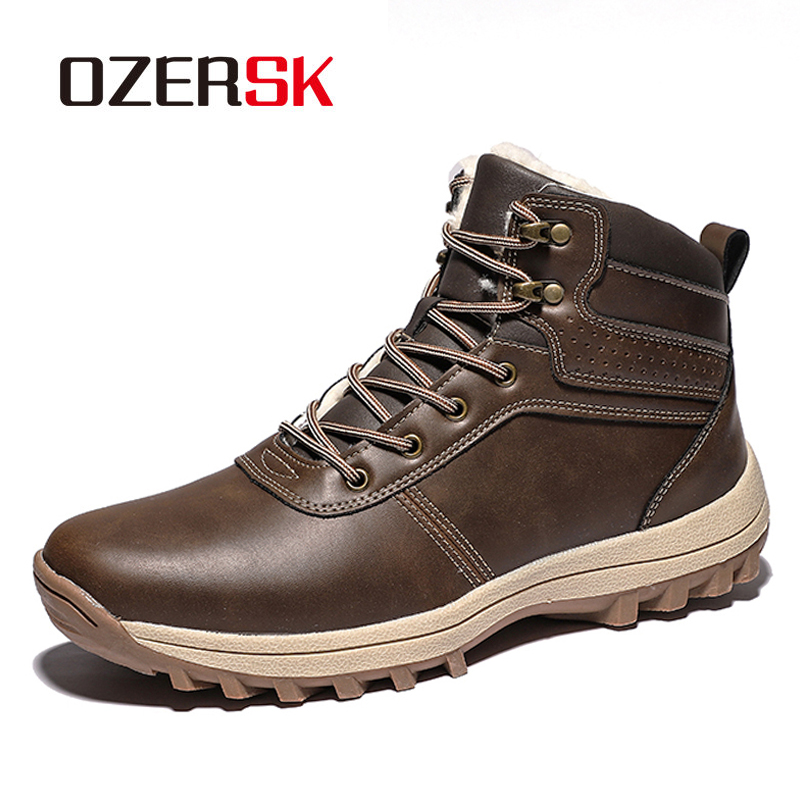 OZERSK Autumn Winter  Men Boots Leather Lace Up Men Shoes High Quality  Classic Shoes Snow Boots Men Casual Ankle Boots