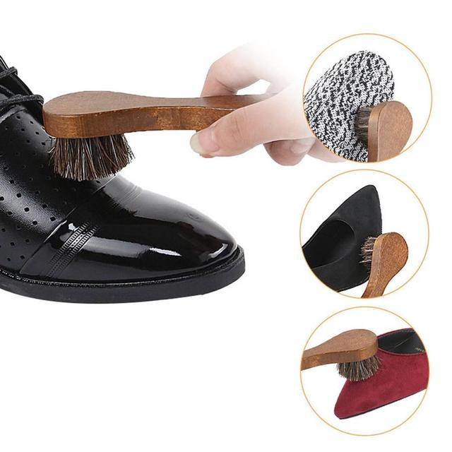 Handle Long Maple Brush Horse Hair Smooth Leather Shoes Special Cleaning Brush Shoes Brush Horse Hair 3