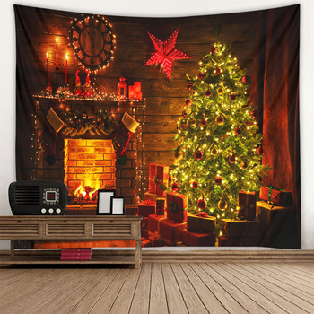 Fireplace Christmas tree tapestry day hanging cloth scene decoration wall multiple sizes - discount item  55% OFF Home Textile