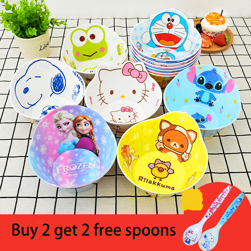 Baby Cartoon Melamine Bowls Kid Anti-broken Food Feeding Products Buy 2 Bowls Get 2 Same Pattern Spoons