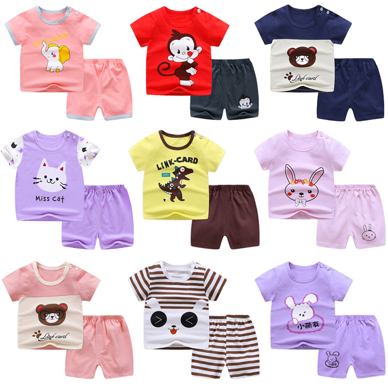 Summer Children Clothes Short Sleeve Cartoon Suit 1-8 Years Old Baby Boys Girls Cotton  Set 2020 New Korean Kids Pajama Outwear