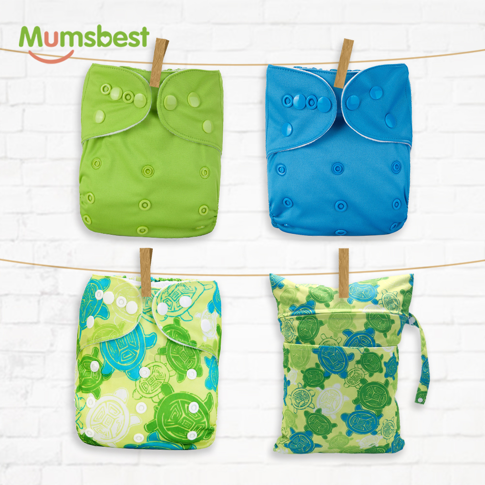 Mumsbest 4PCS/PACK New Reusable Cloth Diapers With 30*40 Wet Bag Waterproof Available 0-2years 3-15kg Eco-Friendly Nappy Cover