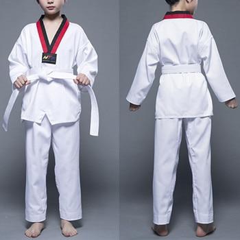 Uniforme de Taekwondo blanco de algodón para niños y adultos, Dobok de Taekwondo con cinturón, deportivo, gimnasio, Judo, kárate, equipo de Taekwondo, novedad