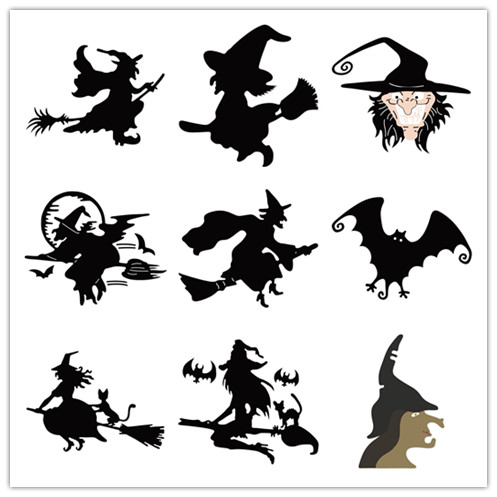 Ufurty <font><b>Halloween</b></font> Witch Metal Cutting <font><b>Dies</b></font> for Scrapbooking <font><b>Stamps</b></font> Craft Embossing DIY Making Stencil Template image