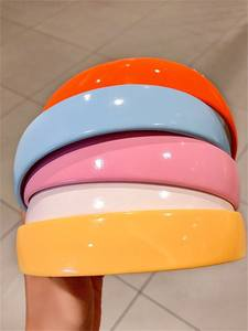 Girls Headbands Hair-Accessories Candy-Color Fashion Women Shiny Sweet PU INS