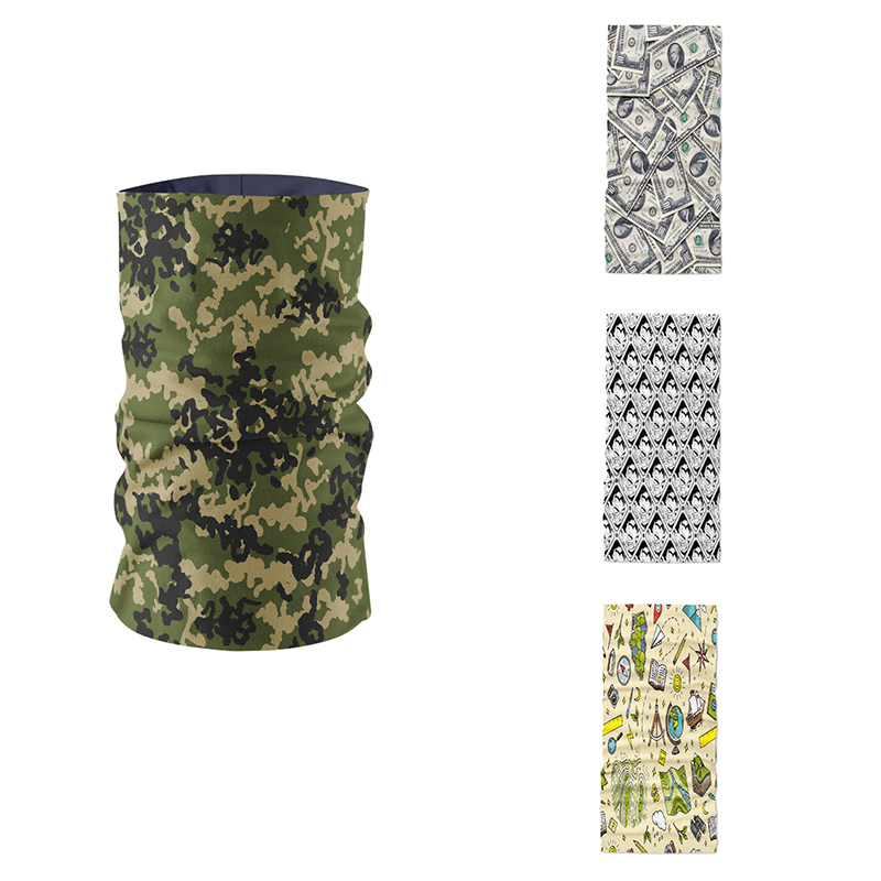 Women Ring Scarf Summer Cotton Blend Neck Gaiter Camouflage Pattern Layered Design Headscarf Magic Sports Cycling Mask Kerchief