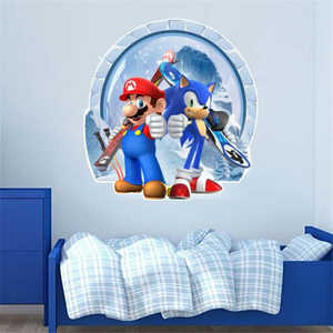 3D Cartoons Mario and Sonic The Hedgehog Wall Stickers for Kids Room Game Stickers KID'S Room Pattern Single-piece Package PVC
