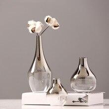 Скандинавская стеклянная ваза креативная Серебряная градиентная сушеная Цветочная ваза настольные украшения украшение дома Веселые подарки растения горшки мебель