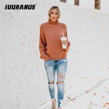 IUURANUS Autumn Winter Women Pullovers Sweater Knitted Elasticity Casual Jumper Fashion Loose Turtleneck Warm Female