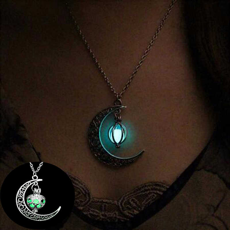 2019 New Moon Glowing Necklace Women Gem Charm Suspension Jewelry Silver Plated Natural Stone Halloween Hollow Necklace Gifts