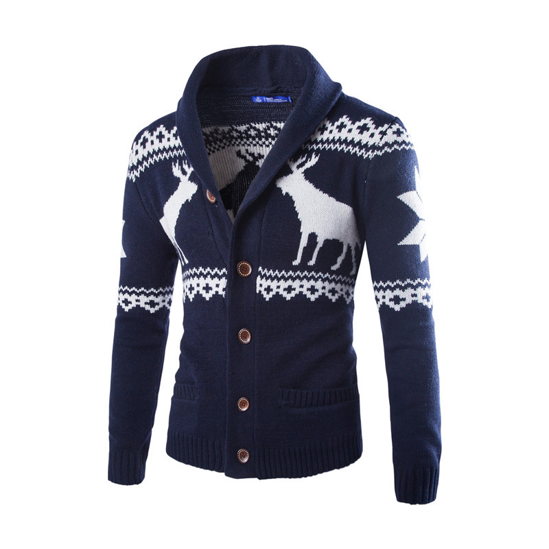 Male Sweaters Christmas Autumn Pattern Casual Sweaters Pullover Fashion Slim Windproof Bottoming Shirts Homme Men MOOWNUC 2019