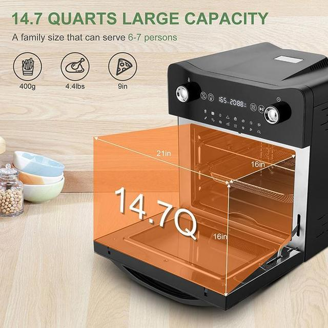 14.7QT Electric Toaster Oven 1800W Electric LED Touch Screen 16-in-1 Smart  Air Fryer 5